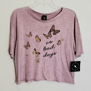 """NWT """"No Bad Days"""" Butterfly Crop Tee"""